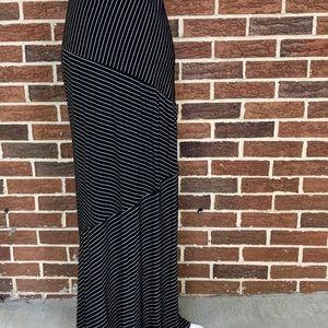 Olive & Oak Asymmetrical Striped Maxi Skirt Sz M